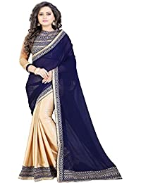Siddeshwary Fab Women's Chiffon Saree With Blouse Piece (Blue-Beige-New Saree_Blue & Beige)