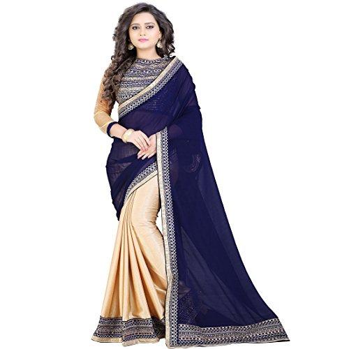 Siddeshwary Fab Women's Chiffon Saree With Blouse Piece (Blue-Beige-New Saree_Blue & Beige)
