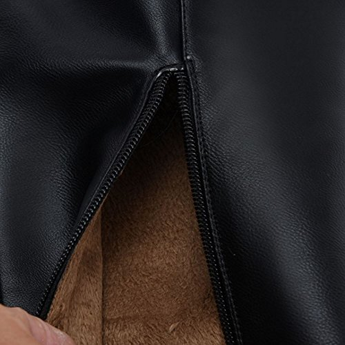 TAOFFEN Langschaft Damen Schwarz Schuhe mit Absatz Mode Warm Gefüttert über Kniehohe Stiefel Schwarz