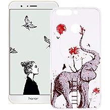 Cover Huawei Honor V9, Custodia in Silicone TPU Morbido Trasparente, Transparent Soft Case Cover in Cristallo Glitter con Motivo Creativo - Elefante