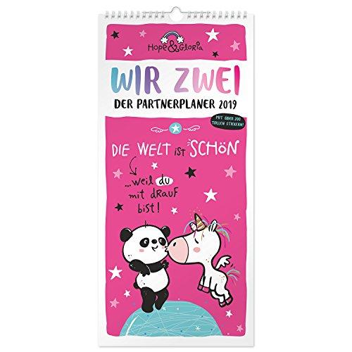 Hope & Gloria 45524 Partner-Kalender 2019, Einhorn und Panda Tier-Design, Wand-Kalender mit 3...