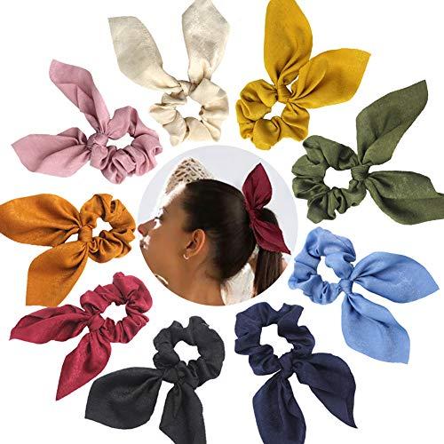 9er Pack Haargummis Haargummis Kaninchenohren Design Haarschleife Chiffon Pferdeschwanz Halter Wackelt Weich Elegante Elastische Haarbänder Haargummis, 9 Farben