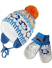 Kinder Baby Strickmütze Schal Fäustlinge 3stk Set Winter Jungen