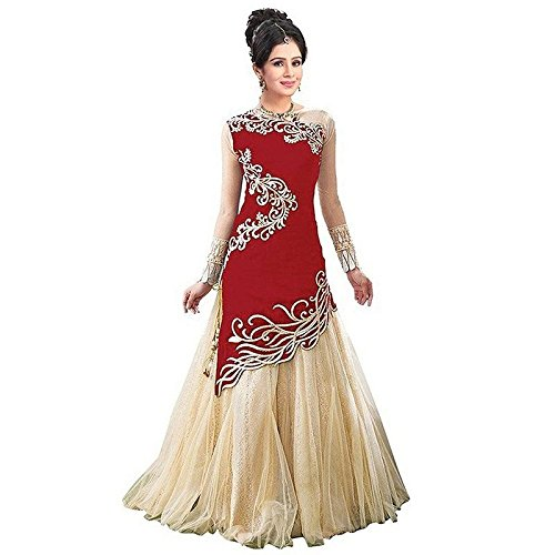 Nplash Fashion women's velvet lehengha choli(red_color_free_size)