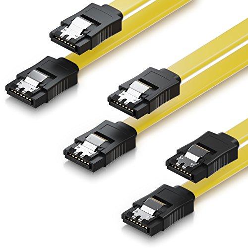 deleyCON 3X 50cm SATA III Kabel im Set S-ATA 3 Datenkabel - HDD SSD Verbindungskabel Anschlusskabel Metall-Clip 6 GBit/s - 2 Gerade L-Type Stecker - Gelb
