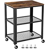 VASAGLE 3-Tier Kitchen Cart Trolley, Industrial Rolling Utility Cart, Heavy Duty Storage Organiser, Wheels, for Kitchen and Living Room, Rustic Brown LRC78X