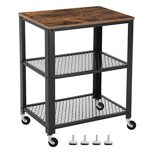 VASAGLE Servierwagen im Industrie-Design, Küchenwagen, Rollwagen, Küchenregal, aus Holz und Metall, auf 4 Rollen, 3 Ebenen für Küche und Wohnzimmer, Vintage LRC78X - Wagen Holz Küche