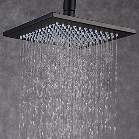 Beelee® 12 Inch Rainfall Square Bathroom Stainless Steel Shower Head Ceiling Mount, Oil Rubbed Bronze