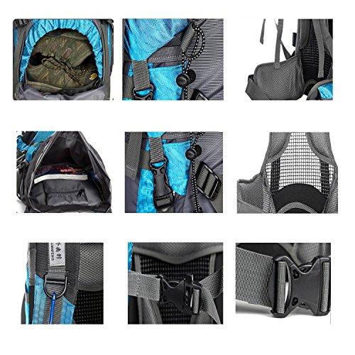 55+5L Hiking Rucksack interner Frame Bergsteigen Tasche Multifunktions-Nylon wasserdicht Leichtbau Rucksack für Bergsteigen Reisen Klettern und andere Outdoor Sports H75 x L37 x T24cm Black