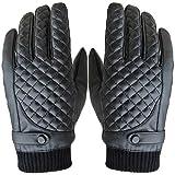 Männer PU-Leder Handschuhe Touchscreen Warme Fahrhandschuhe mit Korallen Fleece-Innenfutter (Schwarz)