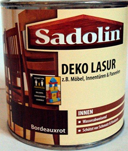 Mahagoni Lack (Sadolin Deko Lasur Innen, Farbton Bordeauxrot ( Mahagoni ) / 375 ml /schützt Holz vor Schmutz u. Kratzern / Wasserabweisend /)
