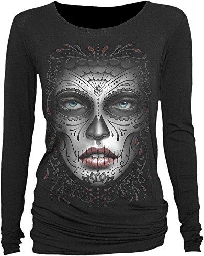 spiral-camiseta-de-manga-larga-para-mujer-negro-s