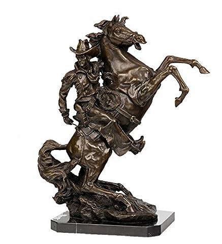 Toperkin Statue 50 Lbs Old West Cowboy Rodeo Gun Horse Bronze Statue Nr TPY-717