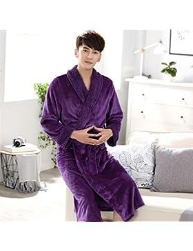 DDOQ Long-Type Franela Albornoz Pareja Albornoz Cálido Camisón Invierno Pijamas-Púrpura (Color : Purple, Tamaño...