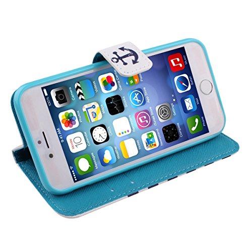 Felfy Iphone 6 Plus Custodia Cover, Elegante Borsa Magnetico Portafoglio PU Pelle Flip Custodia Protettiva Case Cover Protezione Chiusura Ventosa (Torta) per Apple Iphone 6 Plus + 1x Stilo Penna + 1x  Barca Anchor