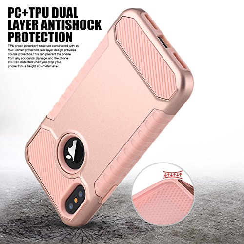 Custodia iPhone X,Custodia iPhone 10,iPhone X Case Snewill Impact Resistant Shock-Absorption Case Dual Layer Armor Full-Body Protective Case for Apple iPhone X - Black Rose Gold