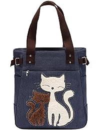 Zibuyu Women Handbag Canvas Bag With Cute Cat Fashion Ladies Small Bags(dark Blue)