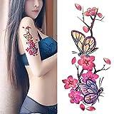 Oottati Arm Brust Temporäre Tattoo Schmetterling Blume Frauen Pflaumenblüte (Set mit 2)
