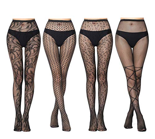 JaosWish Netzstrümpfe für Damen, hohe Taille, Netzgewebe, Schwarz, 4 Paar Gr. Einheitsgröße, Stil 1 -