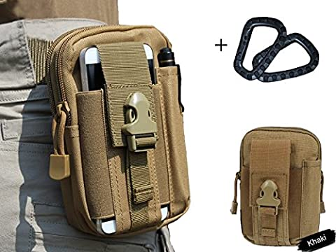 Wynoz Coyote Sand 1000D Nylon Tough Duty Tactical Backpack Molle Compatible EDC Universal Casual Outdoor Gear Carrying Big Capacity Tool Belt Waist Bag Holster for iPhone 6s Plus Samsung Note