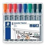 Staedtler Lumocolor 356 WP8X Flipchart-Marker (Rundspitze ca. 2 mm Linienbreite, Set mit 8 Markern, Ideal für Flipchart-Blöcke, farbintensiv, geruchsarm, hohe Qualität)