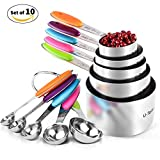 Longlove Measuring Cups and Spoons Set Stainless Steel (10 Piece)