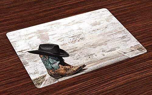 tz-Matten, traditionelle Rodeo-Cowboy-Hut und Cowgirl Stiefel Retro Grunge Hintergrund Kunst Foto, waschbare Stoff Tischsets für Esszimmer Küchentisch Dekor , Set von 6 ()