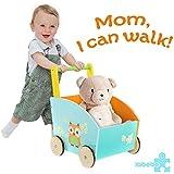 Labebe Baby Walker, 2-in-1 Use as Push Along Toy, Orange Owl Mobility Walker for 1-3 Years, Wooden Walker Kid/Pull Along Wagon/Easy Walker Children/Wooden Wagon Kid/Push Along Wagon/Push Toy