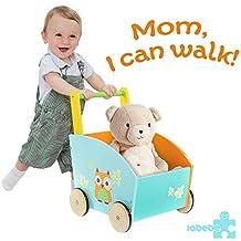 Labebe Little Toddler Kids Learning Walker pendant 1 an et plus, Sit-to-Stand 2-en-1 Utilisation comme débarbouillette, robuste bois massif Push and Pull Toys pour bébé garçons et filles
