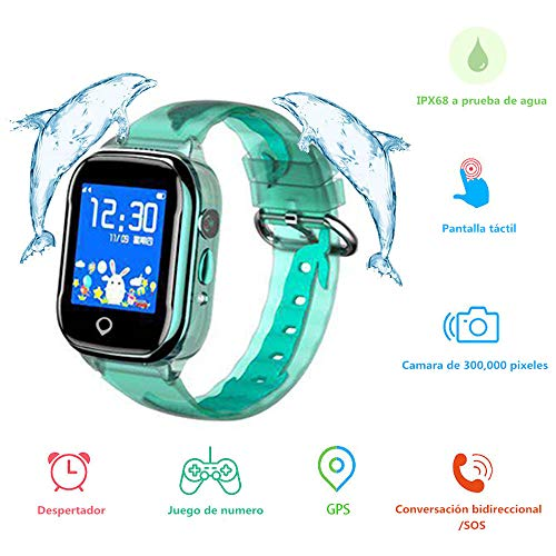 MUSSON Reloj Inteligente Niños, SmartWatch Infantil IPX68 Impermeable GPS Rastreador SIM Phone...