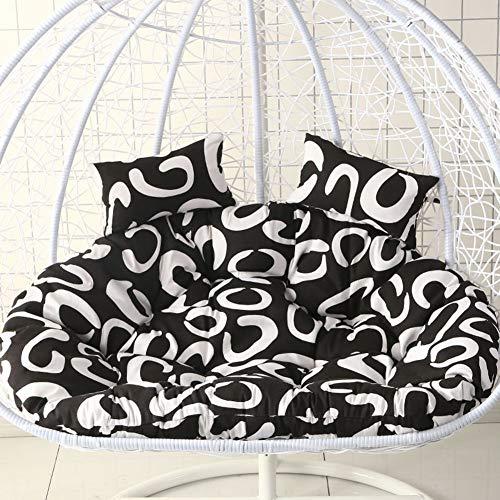 Nest-hangstuhl Zurück Mit Kissen, Hängende Ei Hängematte Stuhl Kissen Ohne Stehen Schaukörbchenmatte Für Swing Terrasse Outdoor-schwarz 145x110cm(57x43inch) -