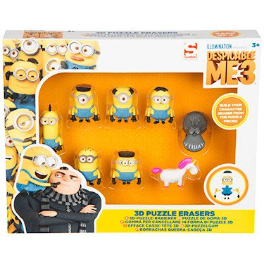 Figures puzzle erasers 3D Minions