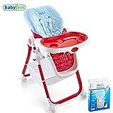 BABYJEM Ersatzbezug Bezug für Hochstühle Sitzkissen Matte Auflage 100% Baumwolle Schützt das Kind vor dem Kontakt mit dem Plastik Verhindert das Schwitzen Universal Waschmaschinenfest (Blau)