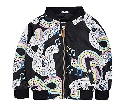 Kind Mädchen Kleidungs Mantel Jacken Herbstgeld Drucken Musik Outwear Freizeit Herbst Kurz Windbreaker Mode Manica Lunga Junge Tops Suits ZYS , 90cm