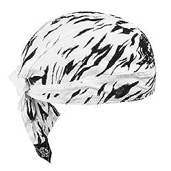 Sport Bandana Cap Hat schnell-trocknend, Anti-UV Schutz, Damen Herren Kopftuch Piratenmütze Bikertuch Stirnband Fahrrad Radsport Motorrad Kopfbedeckung Mütze (Schwarz-Weiß Flamme-Baumwolle Bandana)