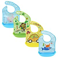 Z-Chen 4 Pack of Silicone Baby Bibs With Food Catcher - Waterproof, 3-36 Months, Cartoon