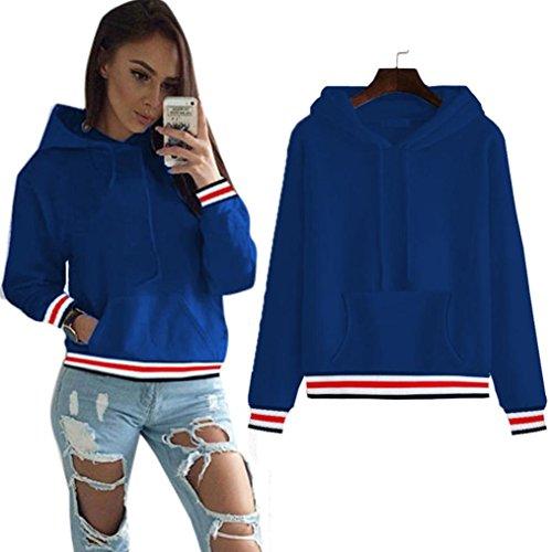 Longra Damen Herbst Kapuzenpullover Hoodie Sweatshirt Casual Langarm Blusen Pullover Sweatshirt Tops Blue