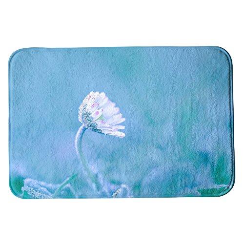 SuaveMats Badteppich Duschmatte Fußmatte aus Mikrofaser - ( Daisy Flowers Flower White Flower Nature Bokeh Frozen ) (Frozen Badematte)