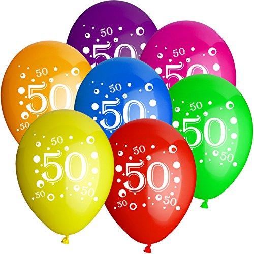 """Preisvergleich Produktbild 50x Rundballons """"Zahl 50"""" bunt Ø25cm + Geschenkkartenset + PORTOFREI mgl. + Helium & Ballongas geeignet. High Quality Premium Ballons vom Luftballonprofi & deutschen Heliumballon Experten. Luftballon Deko zur 50. Geburtstagsfeier oder 50. Jubiläum und tolles Luftballongeschenk zum 50. Geburtstag."""