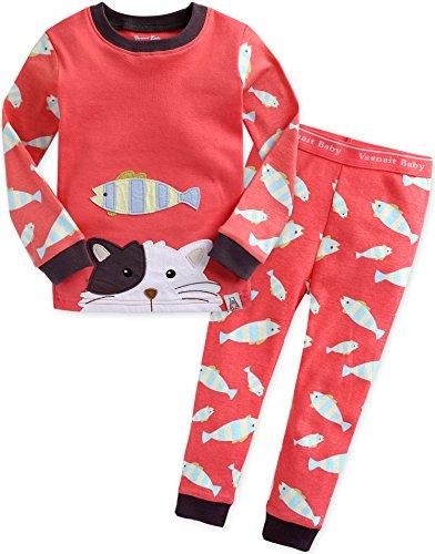 2 Stück Baumwolle Pyjama Bottoms (Vaenait baby Kinder Maedchen Nachtwaesche Schlafanzug-Top Bottom 2 Stueck Set Secret Kitty M)