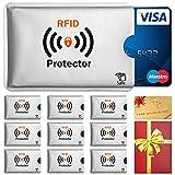 Travando  RFID-Schutzhülle Set (10 Stück) für Bankkarte, EC-Karte, Personalausweis, Kreditkarten - 100%Datenschutz durch Kreditkartenhülle / Kartenschutzhülle + GRATIS E-Book - in Geschenkverpackung