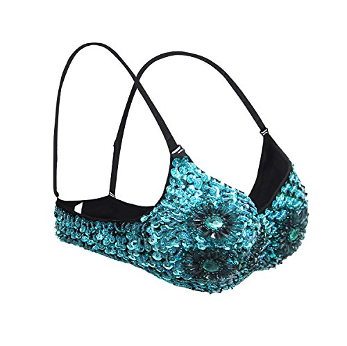 Kimring Women's Steampunk B Cup Spike Studs Rivet Party Club Rave Sport Bra Tops Floral-sky blu