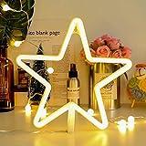 AIZESI Stern LED Deko Lampe Kinderzimmer NachtLicht,LED Neonröhren,Stern Festzelt Batterie oder USB betrieben Tabelle LED Ligths WandDekoration für Mädchen Schlafzimmer,Wohnzimmer,Weihnachten,Party als Kinder Geschenk(White Star)