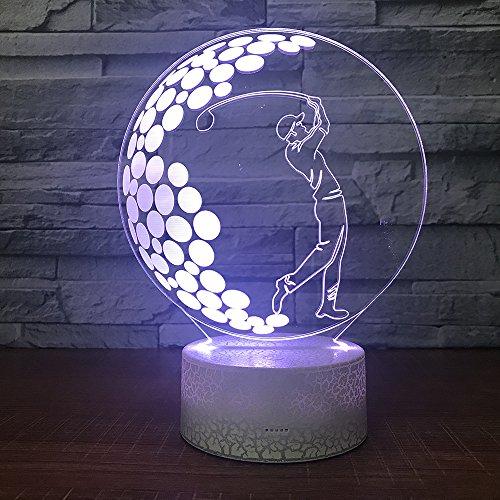 Nachtlicht, Kinder 3D Stereo Licht, Golf Form Bunte LED-Leuchten, Schlafzimmer Nachttischlampe, Tabletop Dekoration Abmessungen: 180X145X88Mm, Fernbedienung