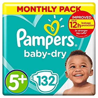 Pampers Baby-Dry Size 5+, 132 Nappies, 12-17kg, Monthly Saving Pack, Air Channels for Breathable Dryness Overnight (B00AR9HX7M) | Amazon price tracker / tracking, Amazon price history charts, Amazon price watches, Amazon price drop alerts