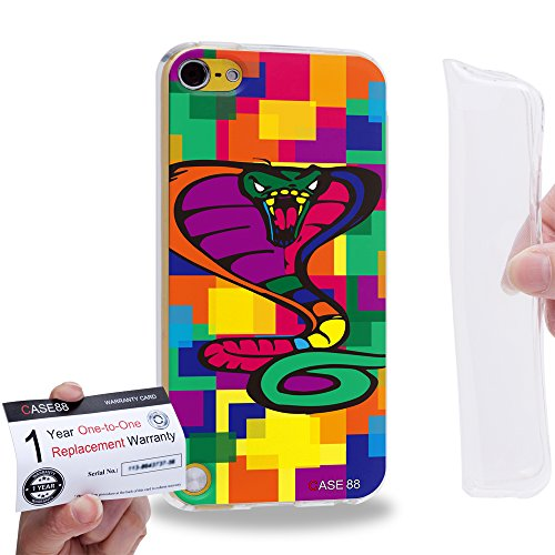 Case88 [Apple iPod Touch 5] Gel TPU Hülle / Schutzhülle & Garantiekarte - Art Drawing Cobra Kawaii Abstract Animals 2573 -