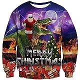 Goodstoworld Ugly Christmas Sweater Dinosaur Herren Damen 3D Hässlich Weihnachtspullover Dinosaurier Pullover Weihnachten T-Shirt XXL