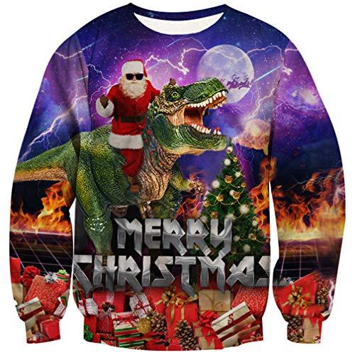 Goodstoworld Weihnachtspullover Dinosaurier 3D Druck Junge Unisex Pullover -