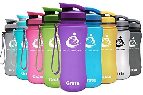 Grsta Botella del Agua Deporte 20oz-600ml Tritan Sin BPA & Eco-Friendly Reutilizable de Plastico con Filtro para Niños, Deportes, Yoga, Senderismo, Viajes, Oficina, Universidad Botellas (Púrpura)