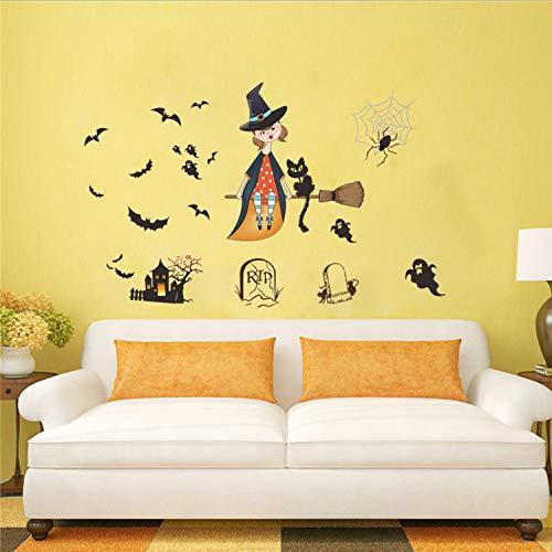 LZRLZR Halloween Dekoration Fliegende Hexe Besen Geist Bat Wandaufkleber Kühlschrank Festival Decor Wandtattoo Wandbild Poster (Halloween-dekoration Fliegende Hexe)